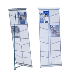 The Mesh literature stand is rollable, compact and easy to transport. The display sets up in seconds and includes a travel bag for storage. The single width unit features 4 mesh pockets and the double width unit is available with 8 mesh pockets.