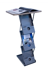 "This stylish 5-Step MESA Literature Stand - Table Trade Show Display holds literature even while folded, making portability even easier.  Pockets holds 8 1/2"" x 11"" literature; 1 1/2"" deep. Set up is simple: pull pegs on sides of rack, lift up to extend"