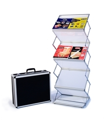 "EZ Frost Literature Rack Display. This stylish 5-Step Literature Rack holds literature even while folded, making portability even easier.  Pockets holds 8 1/2"" x 11"" literature; 1 1/2"" deep. Set up is simple: pull pegs on sides of rack, lift up to extend"