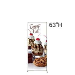 18in x 63in Grasshopper  Banner Stand Small w/ Banner allows your customers to quickly set up their graphics. Simply unfold the Banner Stand display and attach a grommeted graphic. Allows for an upscale wood look for a lower cost.