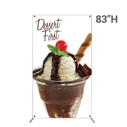 48in x 83in Grasshopper Banner Stand Large w/ Banner allows your customers to quickly set up their graphics. Simply unfold the Banner Stand display and attach a grommeted graphic. Allows for an upscale wood look for a lower cost.