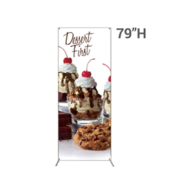 32in x 79in Grasshopper  Banner Stand Small w/ Banner allows your customers to quickly set up their graphics. Simply unfold the Banner Stand display and attach a grommeted graphic. Allows for an upscale wood look for a lower cost.
