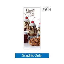 32in x 79in Grasshopper  Banner Stand Small Graphic Only allows your customers to quickly set up their graphics. Simply unfold the Banner Stand display and attach a grommeted graphic. Allows for an upscale wood look for a lower cost.