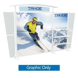 Tahoe Modular Displays 13ft B Main Graphic Only. Tahoe Modular Display Portable System is available in a number of configurations making it the perfect back wall display. The Tahoe is a modular trade show display booth that is fully customizable.
