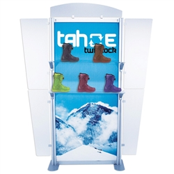 6ft Tahoe Twistlock Rack Modular Backwall Display. Twistlock Tahoe is a modular backwall display booth that is fully customizable. Twistlock Tahoe Modular Display Portable System is available in a number of configurations- perfect back wall display