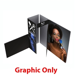 10ft x 10ft Alpine Merchandiser Booth B - Graphic Only. Alpine Merchandiser Booths with SEG Fabric can be use in  Retail Stores, Trade Shows, Showrooms. Great for 10ftx10ft booths.