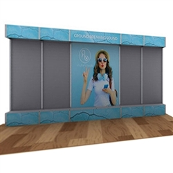 10ft x 20ft Alpine Merchandiser Booth F Graphic Package with slatwall. Alpine Merchandiser Booths with SEG Fabric can be use in  Retail Stores, Trade Shows, Showrooms. Great for 10ftx10ft booths.