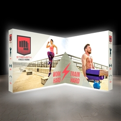10 Ft. Lumiere Light Wall Configuration B - Double-Sided, Backlit Display. A combination of innovative silicone-edge graphics and RPL fabric pop ups offers an easier and more cost effective SEG option.