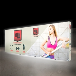 20 Ft. Lumiere Light Wall Display Configuration D - Double-Sided, Backlit. A combination of innovative silicone-edge graphics and RPL fabric pop ups offers an easier and more cost effective SEG option.