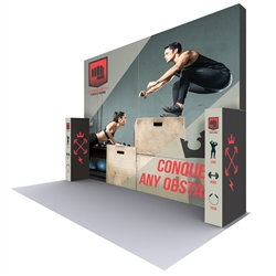 20 Ft. X 15 Ft. Lumiere Light Wall Display Configuration F - Double-Sided Backlit. A combination of innovative silicone-edge graphics and RPL fabric pop ups offers an easier and more cost effective SEG option.
