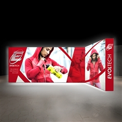 Lumiere Light Wall Display Configuration G - Double-Sided, Backlit. A combination of innovative silicone-edge graphics and RPL fabric pop ups offers an easier and more cost effective SEG option.