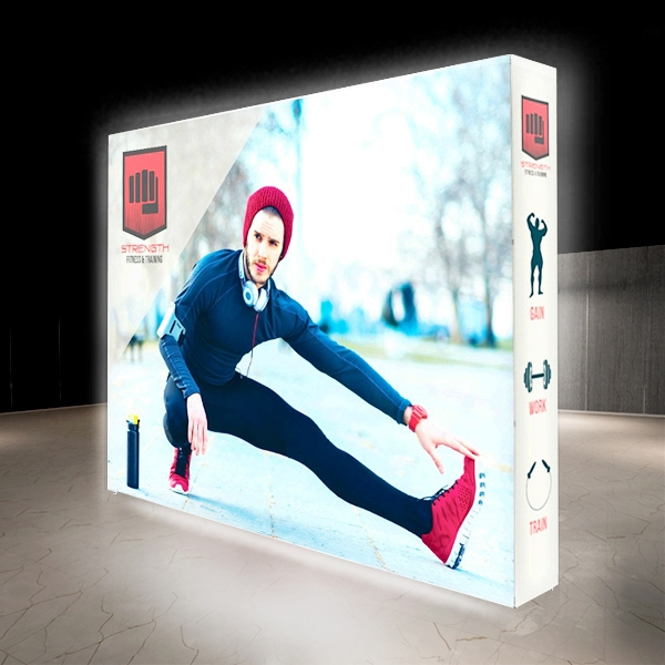 10ft X 7.5ft Lumiere Light Wall Display Double-Sided - Backlit (Graphic Package) A combination of innovative silicone-edge graphics and RPL fabric pop ups offers an easier and more cost effective SEG option.