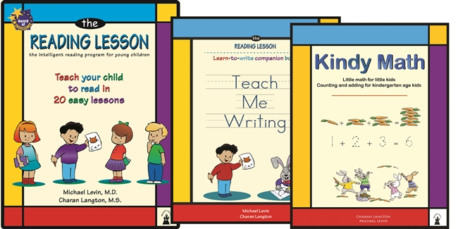 The Reading Lesson book , Teach Me Handwriting Book, Kindy Math book and the Giggle Bunny