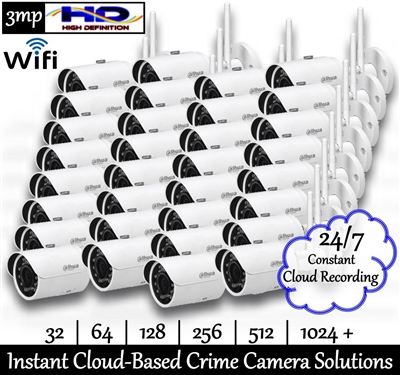 Complete package featuring 32 pre-programmed 3mp WiFi Day/Night Loaner Crime Cameras and 1 year managed Project NOLA Cloud Service with tech support to quickly and inexpensively implement a live-monitorable community crime camera system virtually anywhere