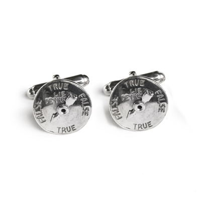 Image of Lie Detector Cufflink in Sterling Silver made by Great Falls Jewelry.