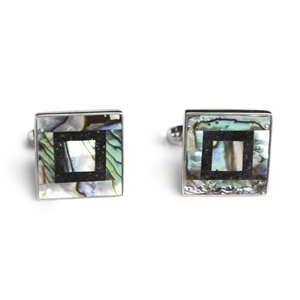 Square abalone charoite sterling silver cufflinks