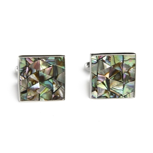 Square Abalone Mosaic Inlay Cufflinks