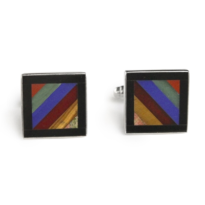 Square Autumn Stripe Inlay Cufflinks