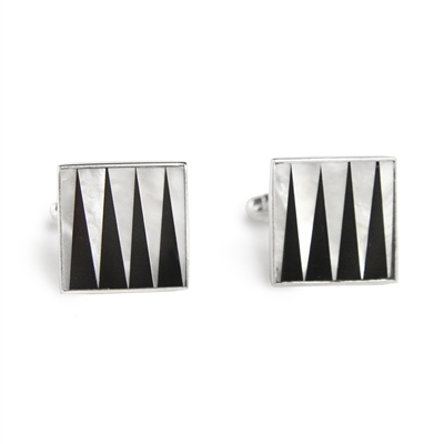 Square Sterling Silver Backgammon Black and White Inlay Cufflinks