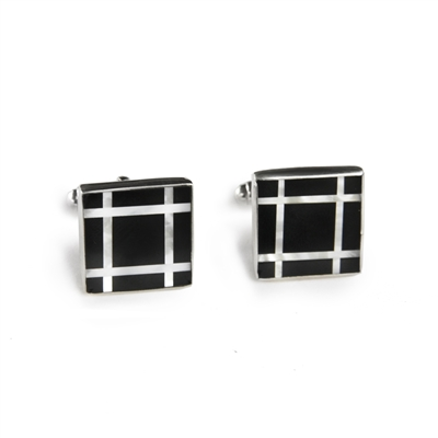 Square Sterling Silver Black Onyx Grid Inlay Cufflinks