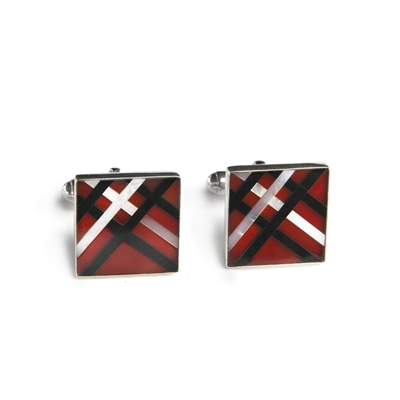 Square Sterling Silver Carnelian Disco Inlay Cufflinks