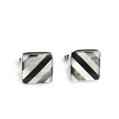 Square Diagonal Stripe Inlay Cufflinks