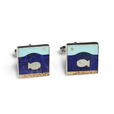 Square Fish in the Sea Inlay Cufflinks