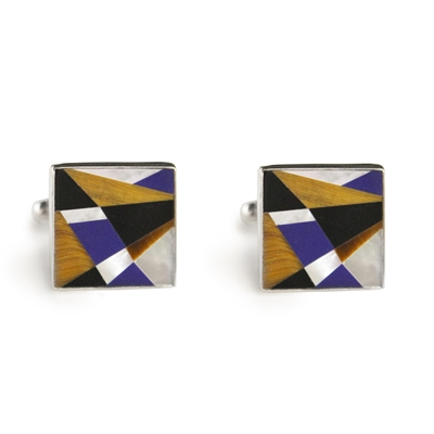 Square Geometric Inlay Cufflinks