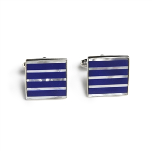 Square Blue & White Pinstripe Inlay Cufflinks