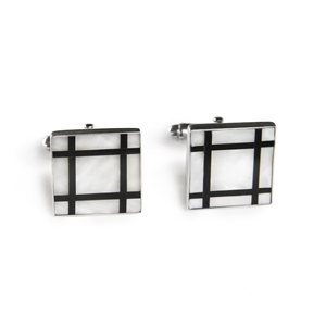 Square Mother of Pearl Grid Inlay Cufflinks