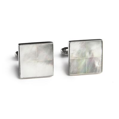 Square Mother of Pearl Tile Inlay Cufflinks