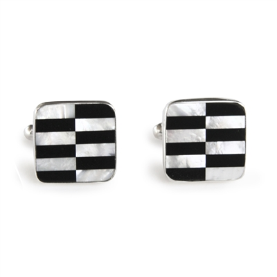Square Black & White Zipper Inlay Cufflinks