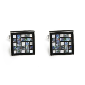 Square Opal Grid Inlay Cufflinks