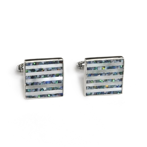 Square Opal and Mother of Pearl Pinstripe Cufflinks