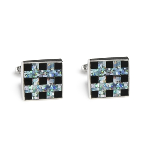 Square Opal & Black Onyx Tic Tac Toe Inlay Cufflinks