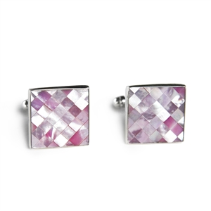 Square Pink Mussel Shell Cufflinks