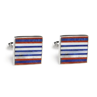 Square Red White & Blue Mosaic Inlay Cufflinks