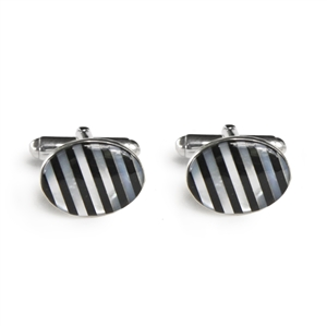 Oval Black & White Stripe Inlay Cufflinks