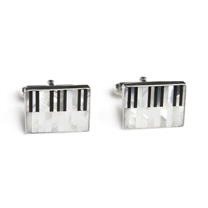 Rectangle Mother of Pearl Piano Inlay Cufflinks