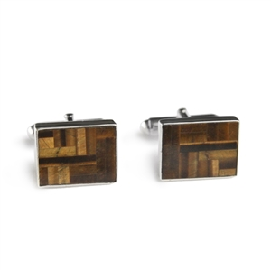 Rectangle Tiger Eye Inlay Cufflinks