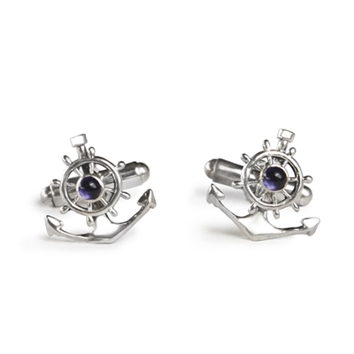 Ships Wheel and Anchor Cufflinks