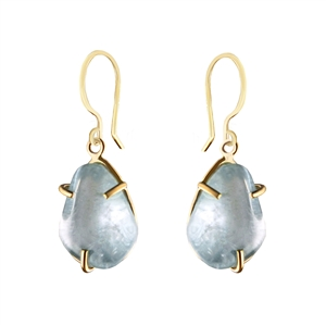 Prong Set Free Form Aquamarine Earrings in 14k Gold Filled