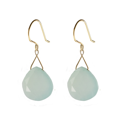Large Twinkling Drop Earrings in Peruvian Chalcedony