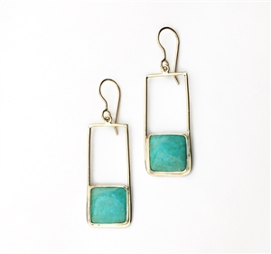 Retro Long Earrings in amber and 14k gold filled
