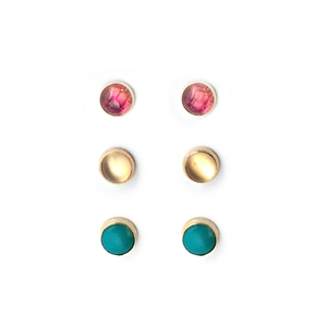 6mm stud gold filled earrings in turquoise, citrine and pink tourmaline