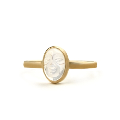 Blue Moonstone Carved 14k Gold Filled Ring