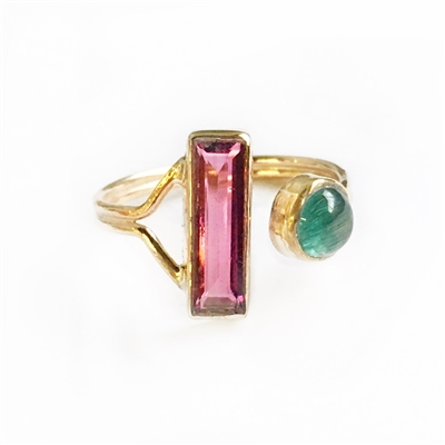 Enchanting Tourmaline Adjustable Ring in Silver or 14k GF
