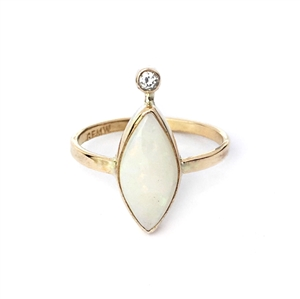 Gold Filled Opal and Faceted stone Ring - MORE COLORS