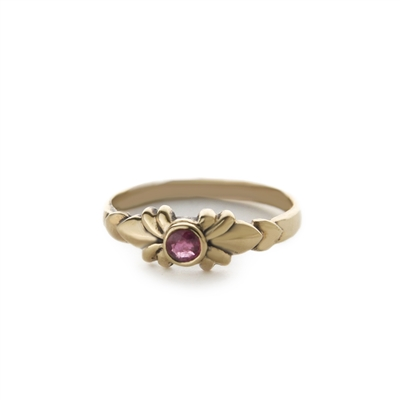 Round Stone Deco 14k Gold Ring + MORE COLORS