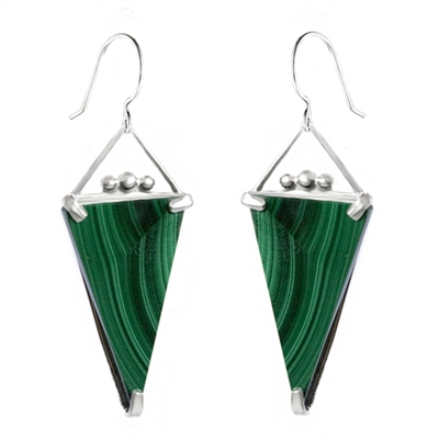 Long triangle earrings in sterling silver and malachite. Handmade in the USA.
